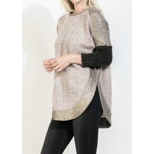 SCOOPED METALLIC SWEATER
